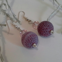 Large Crackle Agate & Crystal Earrings Silver Plated