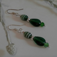 Green Crystal & Glass Bead Earrings Silver Plated