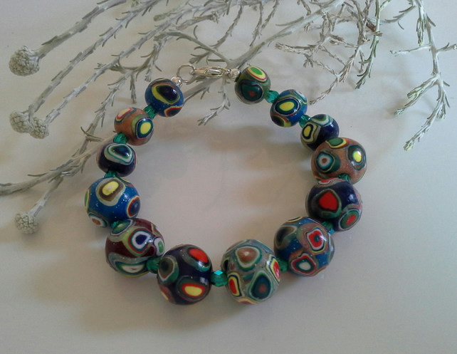 Hand Made Polymer Clay Beaded Bracelet Silver Plated