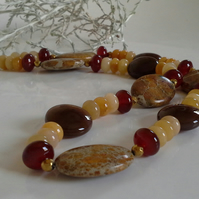SALE ITEM Jasper, Haematite,  Jade, Toffee Agate Gold Vermeil Necklace 'ONE OFF'