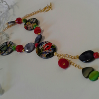 Printed Mother of Pearl,  Coral, Necklace Gold or Silver Plate
