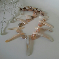 Mother of Pearl Tribal Design Necklace Silver Plated