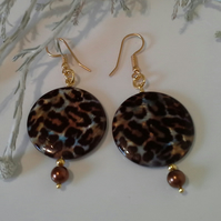 Statement Animal Print Mother of Pearl Earrings Gold Plated