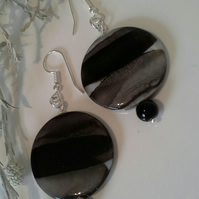 SALE Mother of Pearl &  Onyx Silver Plated Earrings