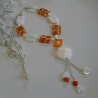 Genuine Mother of Pearl & Orange Coral Necklace Silver Plated