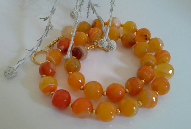 Statement Genuine Agate Gold Plate Necklace