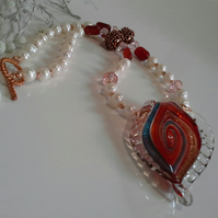 Freshwater Pearl, Carnelian, Crystal,  Fancy Murano Class Necklace Gold Plate