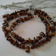 Tiger's Eye Gemstone Necklace Silver Plated