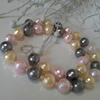 Large Faceted Shell Pearl Silver Plated Necklace