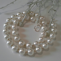 Large  White Shell Pearl Silver Plated Necklace