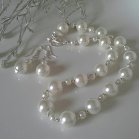 White Statement Shell Pearl Necklace & Earring set Silver Plate