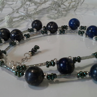 Rare Top Drilled Lapis Lazui Gemstone Bead Necklace