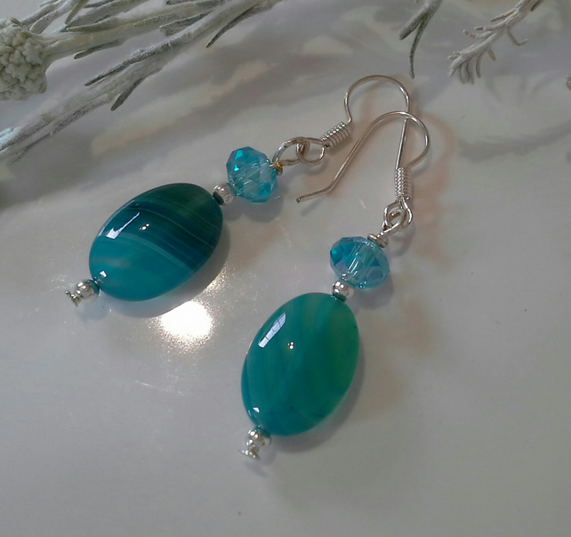 Banded Agate & Faceted Crystal Bead Earrings Silver Plated