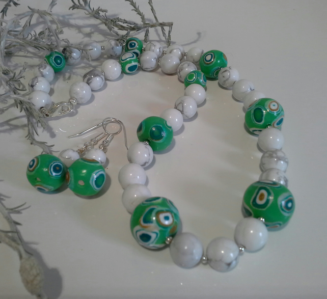 Genuine White Howlite & Hand Made Polymer Clay Beads Necklace Set