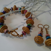 Chunky Natural Wood  & Hawalite Gemstones Bracelet & Earrings