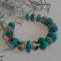 Turquoise Coloured Howlite & Handmade Polymer Clay Silver Plate Bracelet