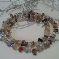Rare Botswana Agate  & Smokey Quartz Necklace Silver Plated