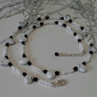 Genuine White Howlite & Glass Silver Plated Necklace