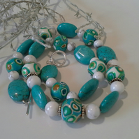 Turquoise Coloure Howlite & Hand Made Polymer Clay Beaded Necklace Silver Plated