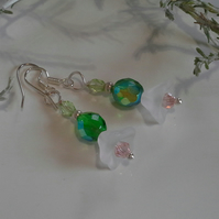 Crystal Flowers Dangle Silver Plated Earings