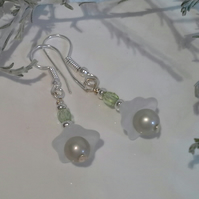 Shell Pearl & Crystal Earrings Silver Plated
