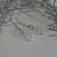 White  Shell Pearls & Crystal Earrings Silver Plated