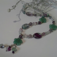 Genuine Large  Natural  Aventurine,  Amethyst & Florite Sterling Silver Necklace