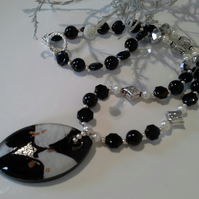 Murano Glass,  Genuine Agate &  Pearl necklace