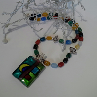 ONE OFF Murano Glass, Multi Colour Genuine Agate Necklace