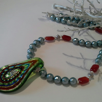 Genuine Murano Glass,  Carnelian & Shell Pearl Necklace