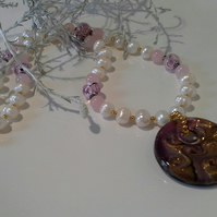 Genuine Murano Glass & Cultured Pearl Statement Necklace