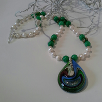 Murano Glass Genuine Freshwater Pearl & Quartzite Necklace