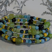 Memory Wire Glass Seed  Beaded Bracelet