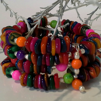 Rainbow Wrap Dyed Mother of Pearl bracelet