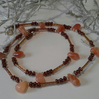 Peach Moonstone & Bronze Coloured Seed Bead Necklace