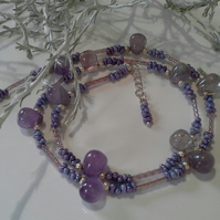 Lavender Amethyst & Seed Bead Silver Plate Necklace