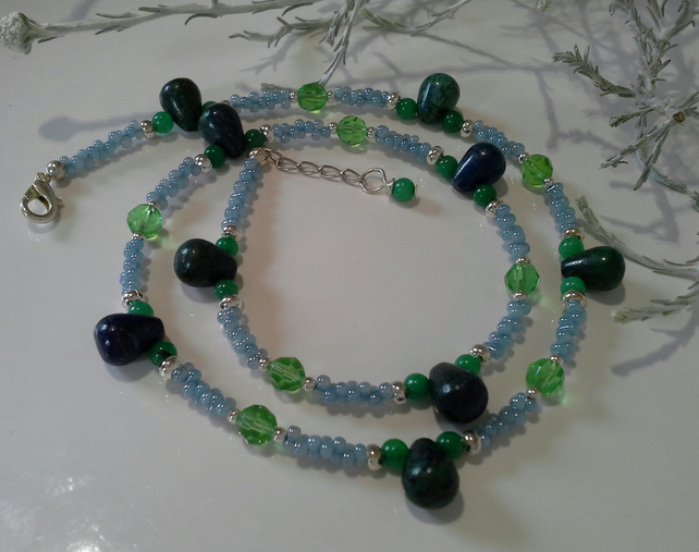 Rare Green Lapis Lazuli, Quartzite & Glass Beaded  Silver Plated Necklace
