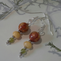 Agate, Peridot & Faceted Jade Earrings Silver Plate