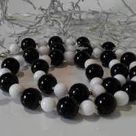 Black & White Onyx Sterling Silver Necklace