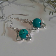 Turquoise (Rec) Articulated Silver Plated Earrrings