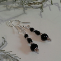 Black Onyx Silver Plate Earrings