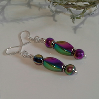 Heamotite Rainbow Sterling Silver Earrings