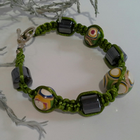 Genuine Heamotite & Polymer Clay Friendship Bracelet