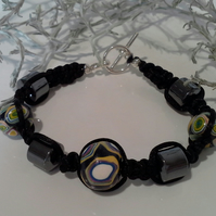 Genuine Heamotite & Polymer Clay Friendship Bracelet Silver Placed