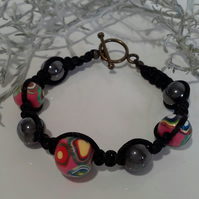 Genuine Heamotite & Polymer Clay Bead Friendship Bracelet