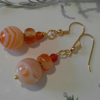 Agate & Carnelian Gold Plated Earrings