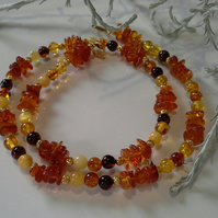 Genuine  Baltic Amber Sterling Silver Gold Vermeil Necklace