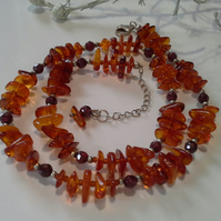 Genuine Baltic Amber & Indian Red Garnet Sterling Silver Necklace