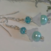 SALE ITEM Shell Pearl & Crystal Earrings Silver Plated