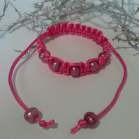 Bright Pink Silky Cord Freshwater Pearl Friendship Bracelet